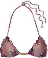 Vix Birds Ruffled Printed Triangle Bikini Top - Lavender
