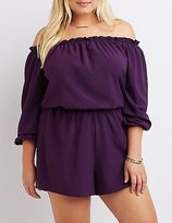Charlotte Russe Plus Size Ruffle Off-The-Shoulder Romper