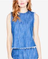 Rachel Roy Cotton Frayed-Edge Denim Top, Created for Macy's