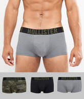 Hollister 3 Pack Trunks In Grey/Camo/Black