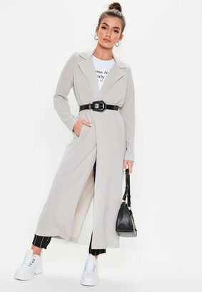 Missguided Grey Long Sleeve Maxi Duster Jacket