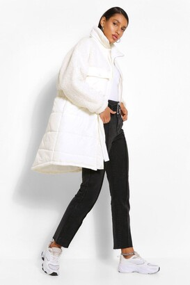 boohoo Teddy Faux Fur Mix Longline Belted Puffer Jacket