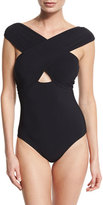 Karla Colletto Wrap-Front Solid One-Piece Swimsuit