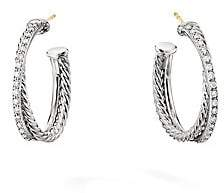 David Yurman Women's Crossover Diamond & Sterling Silver Hoop Earrings