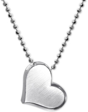 "Alex Woo Heart 16"" Pendant Necklace in Sterling Silver"