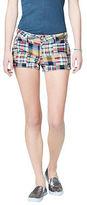 Aeropostale Womens Prince & Fox Madras Print Shorty Shorts Multi-Color
