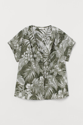 H&M V-neck Cotton Blouse