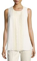 Lafayette 148 New York Sleeveless Hand-Beaded Double-Georgette Silk Blouse, Ivory