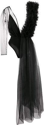 Alchemy Asymmetric Draped Tulle Bodysuit
