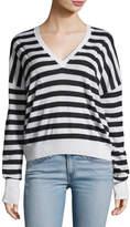 Rag & Bone Bevan Striped V-Neck Wool Sweater
