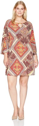 Tiana B T I A N A B. Women's Plus Size Split Sleeve Patchwork Print Dress