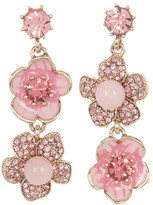 Betsey Johnson Pave Flower Drop Earrings