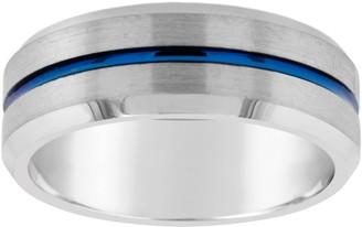 Men's 8mm Tungsten Wedding Band w/Blue IP Plated Center
