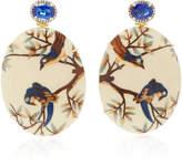 "Silvia Furmanovich Oval Marquetry Bird 14K Gold"" Diamond"" and Kyanite Earring"