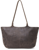 Braided Handle Large Leather Tote