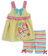 Nannette Baby Girls Seersucker Dress and Striped Shorts Set