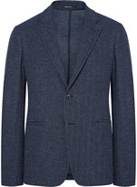 Giorgio Armani Blue Slim-Fit Unstructured Herringbone Virgin Wool and Cotton-Blend Blazer