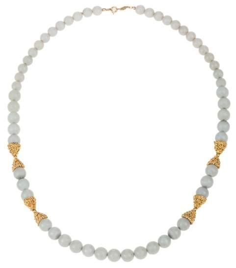 Christian Dior German Faux Blue Chalcedony Bead Necklace