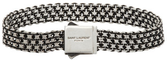 Saint Laurent Silver Metal Weave Bracelet