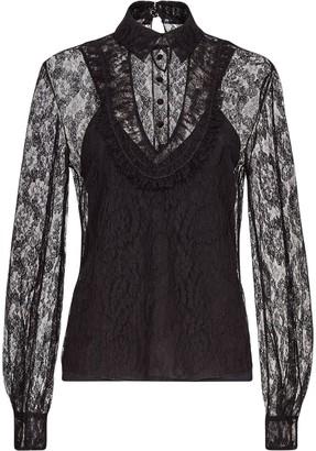Fendi Floral Lace Buttoned Blouse