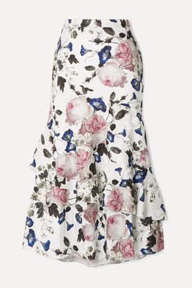 Erdem Zennia Ruffled Floral-print Satin-jacquard Midi Skirt - White