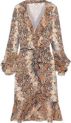Diane von Furstenberg Carli Ruffled Snake-print Georgette-paneled Silk-jersey Wrap Dress