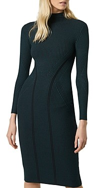 French Connection Simona Striped & Ribbed Body-Con Dress