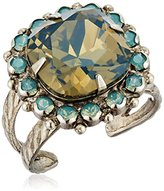 "Sorrelli Teal Textile"" Crystal Cushion-Cut Ring"
