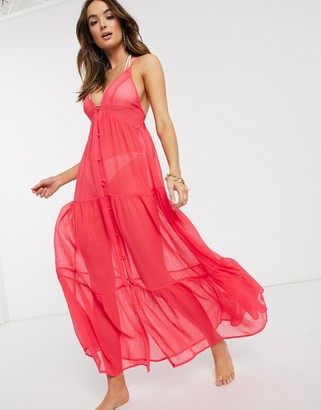ASOS DESIGN button front tiered maxi beach dress in hot coral