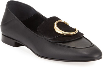Chloé C Leather Flat Fold-Down Loafers