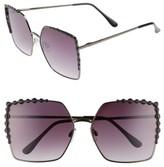 BP Women's 64Mm Oversize Square Sunglasses - Black/ Black