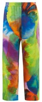Raey Neon Tie-dye Print Wide-leg Silk Trousers - Womens - Multi
