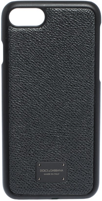 Dolce & Gabbana Grey Leather Logo Plaque iPhone 7 Cover
