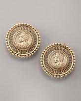Coin-Portrait Button Earrings