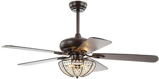 Jonathan Y Designs Joanna 52In 3-Light Bronze Crystal Led Ceiling Fan With Remote