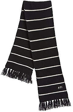 Ami Paris Men's Striped Wool Scarf