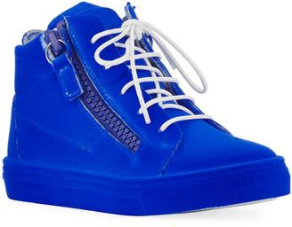 Giuseppe Zanotti Kids' Smuggy Velvet Sneakers, Youth