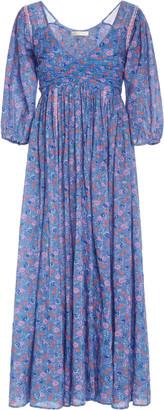 LoveShackFancy Roslyn Floral-Print Cotton-Chiffon Maxi Dress