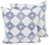 Pair of Indian Cotton Cushion Covers in Royal Blue and White, 'Royal Blue Kites'