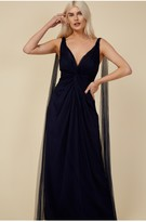Thumbnail for your product : Little Mistress Bridesmaid Eden Navy Knot-Front Maxi Dress