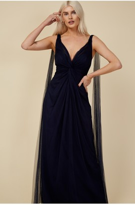 Little Mistress Bridesmaid Eden Navy Knot-Front Maxi Dress
