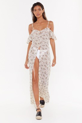 Nasty Gal Womens Chiffon Floral Cover-Up Maxi Dress - Cream