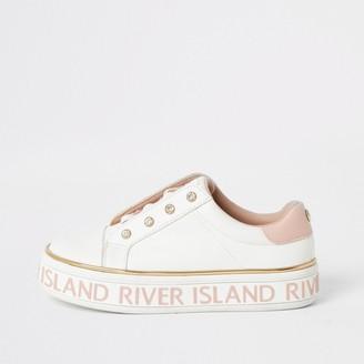 River Island Girls White RI lace-up flatform trainers