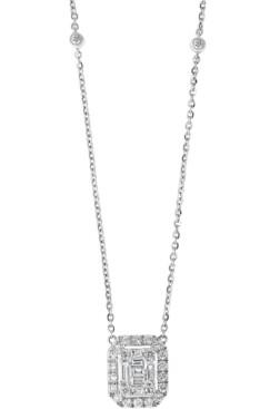 "Effy Diamond Baguette Halo Pendant Necklace (5/8 ct. t.w.) in 14k White Gold 16"" + 2"" extender"