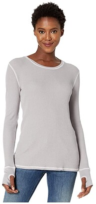 Mod-o-doc Thermal Long Sleeve Tee with Thumb-Holes (Black) Women's Clothing