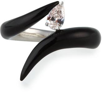 Nikos Koulis Oui Black Enamel Pear Diamond Ring