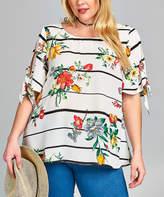 Tua Off-White Floral Stripe Sleeve-Tie Top - Plus