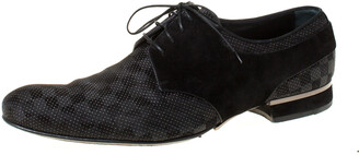 Louis Vuitton Textured Damier Graphite Fabric, Metal Detail and Suede Lace Up Derby Size 42.5