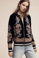 Elevenses Embroidered Velvet Bomber