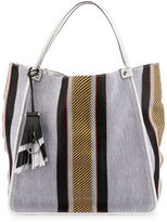Proenza Schouler Woven Stripes Medium Tote Bag, Optic White/Mix